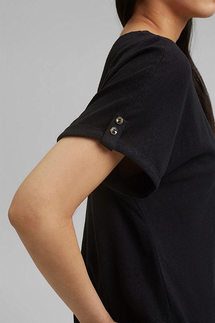 Cotton/linen blend T-shirt, BLACK, detail image number 2
