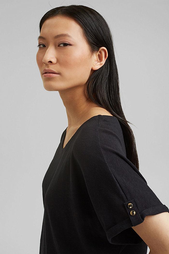 Cotton/linen blend T-shirt, BLACK, detail image number 5