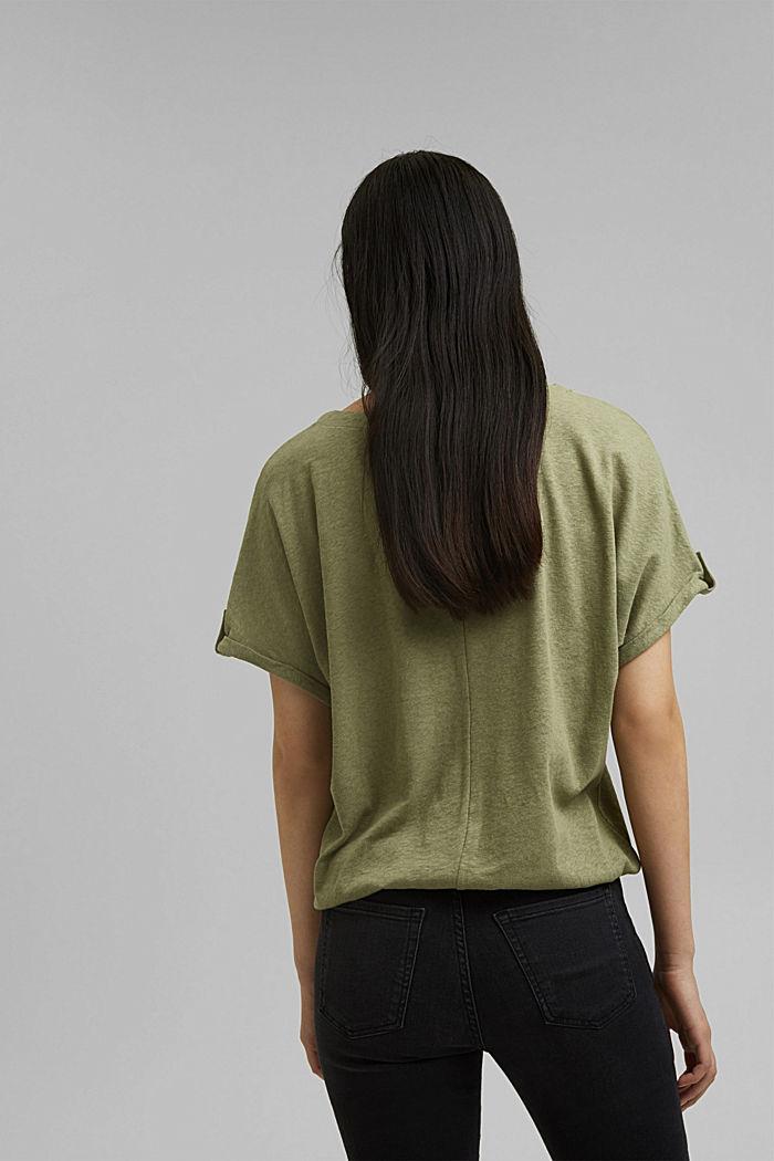 Cotton/linen blend T-shirt, LIGHT KHAKI, detail image number 3