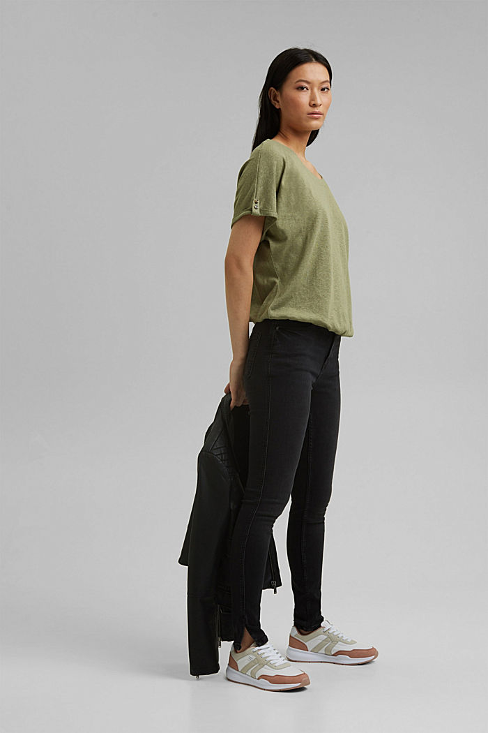 Cotton/linen blend T-shirt, LIGHT KHAKI, detail image number 1