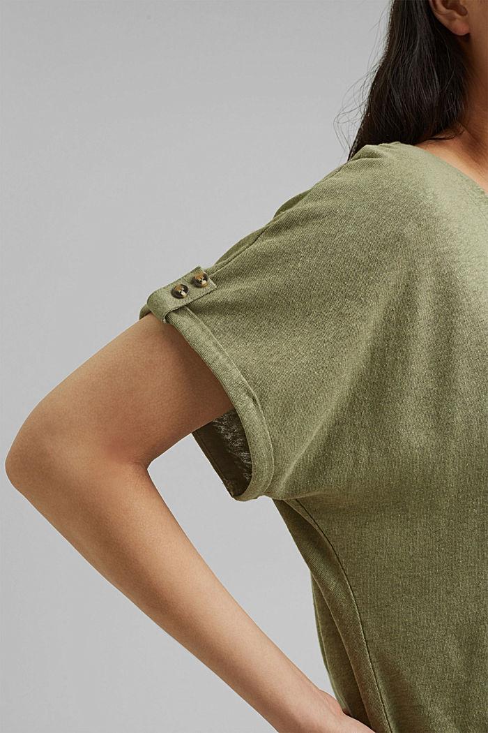 Cotton/linen blend T-shirt, LIGHT KHAKI, detail image number 2