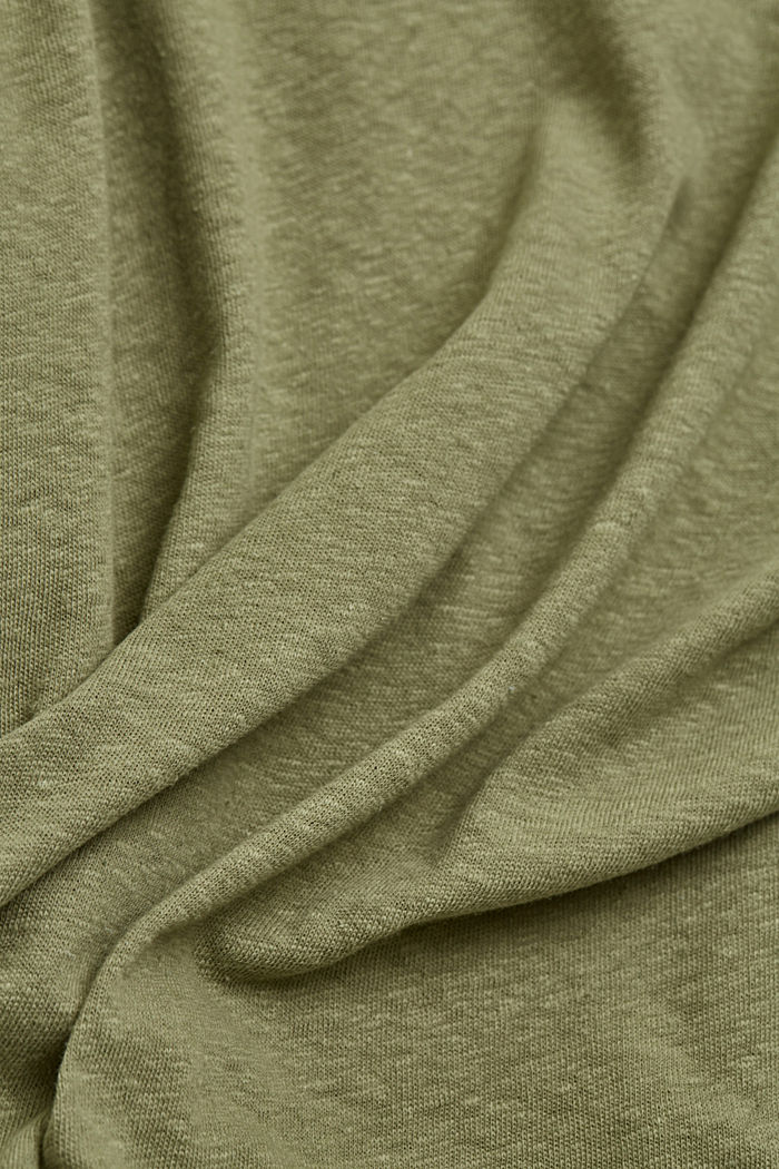 Cotton/linen blend T-shirt, LIGHT KHAKI, detail image number 4