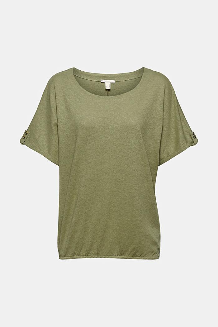 Cotton/linen blend T-shirt, LIGHT KHAKI, detail image number 5