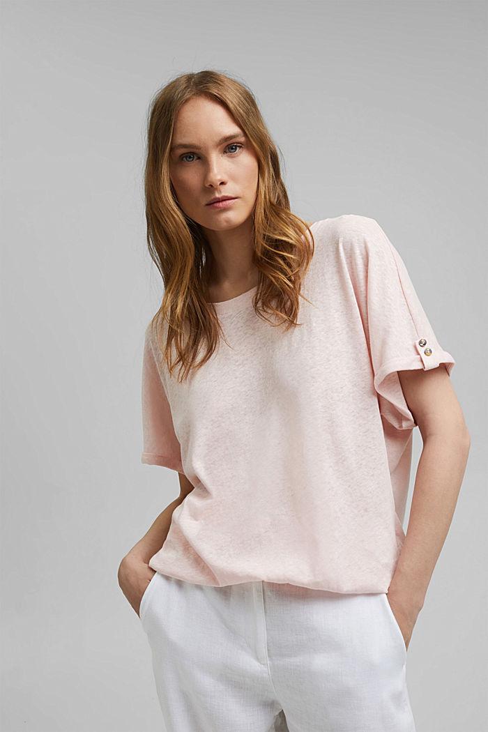 T-Shirt aus Baumwoll-Leinen-Mix, LIGHT PINK, detail image number 0