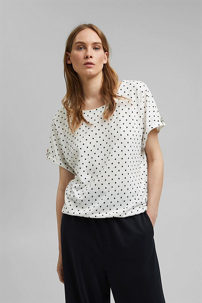 Linen blend: T-shirt with polka dots, OFF WHITE, detail image number 0
