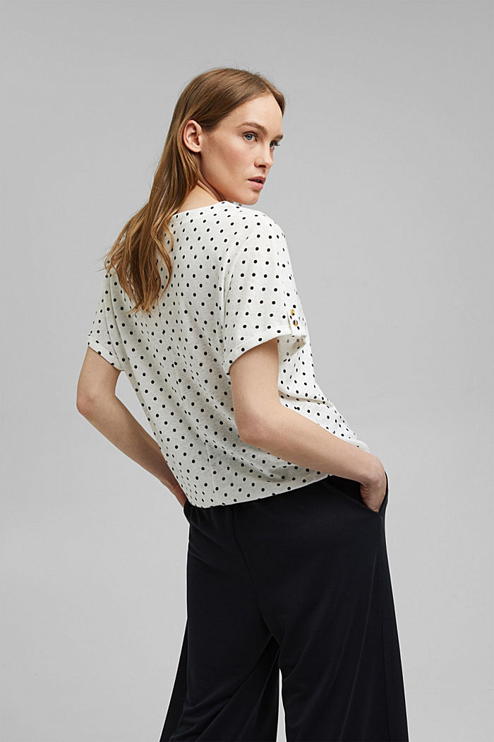 Linen blend: T-shirt with polka dots, OFF WHITE, detail image number 3