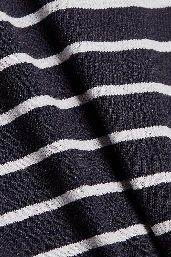 Linen blend: T-shirt with elasticated waistband, NAVY, detail image number 4