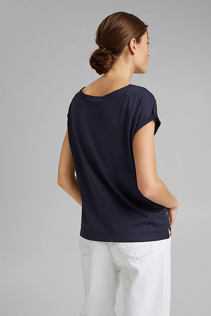T-shirt in LENZING™ ECOVERO™ e cotone biologico, NEW NAVY, detail image number 3