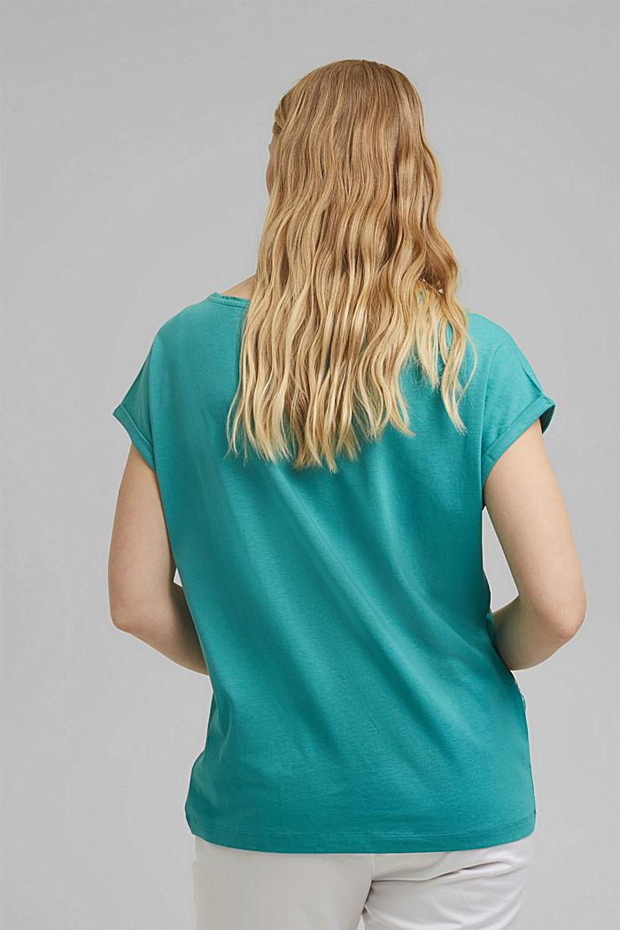 T-shirt en LENZING™ ECOVERO™/coton biologique, TURQUOISE, detail image number 3