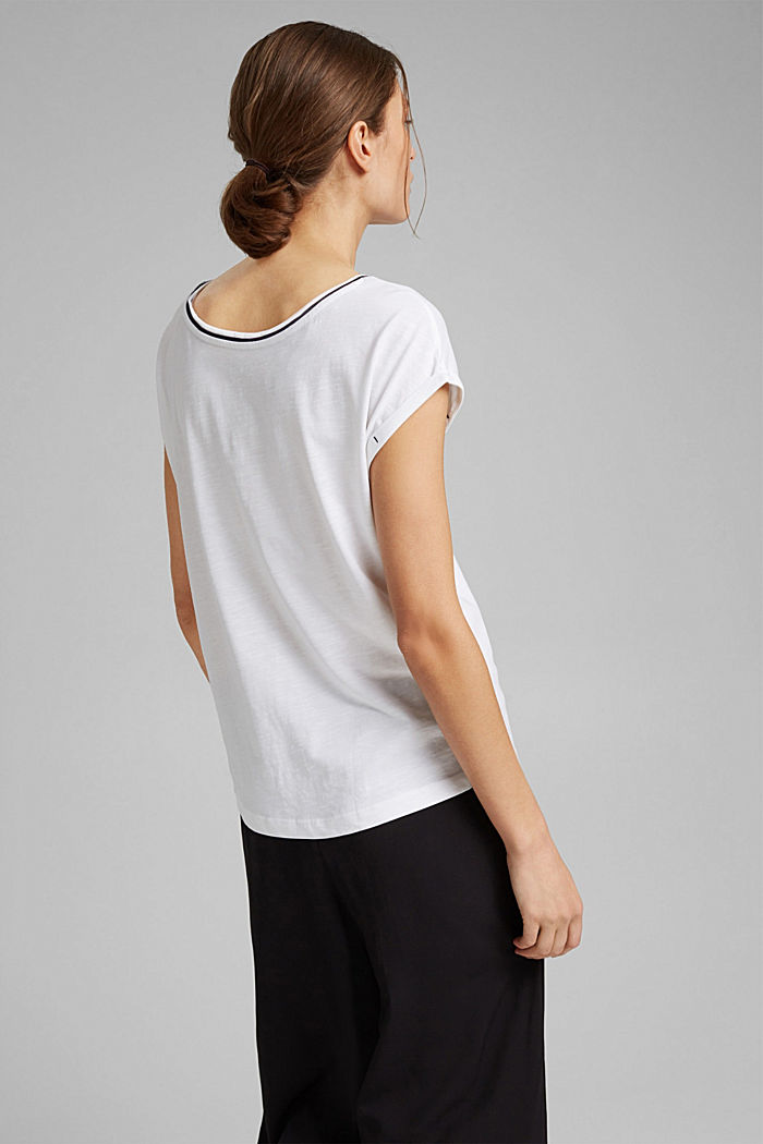TENCEL™/organic cotton: piped T-shirt, WHITE, detail image number 3