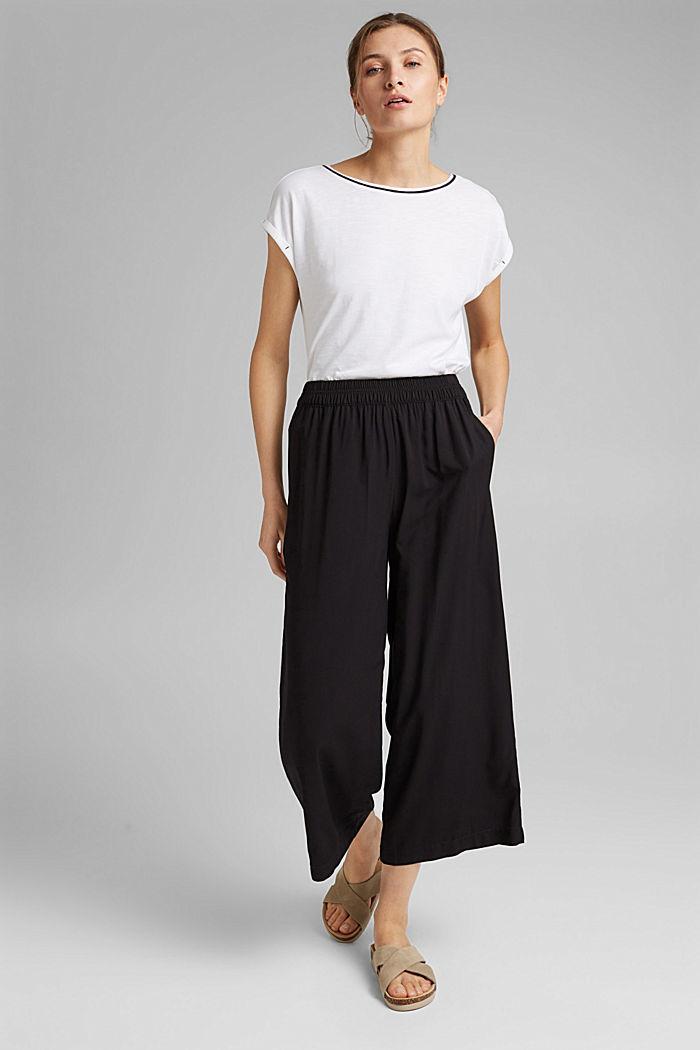 TENCEL™/organic cotton: piped T-shirt, WHITE, detail image number 1