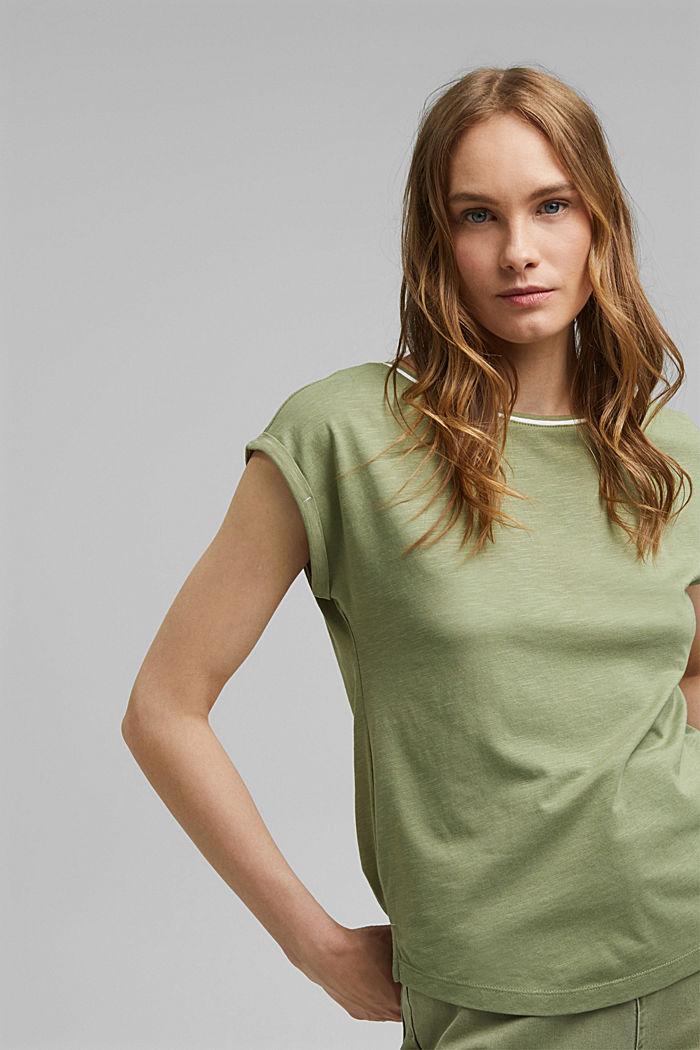 TENCEL™ et coton biologique: le t-shirt passepoilé, LIGHT KHAKI, detail image number 0
