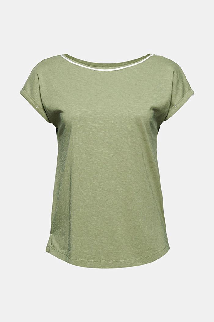 TENCEL™ et coton biologique: le t-shirt passepoilé, LIGHT KHAKI, detail image number 6