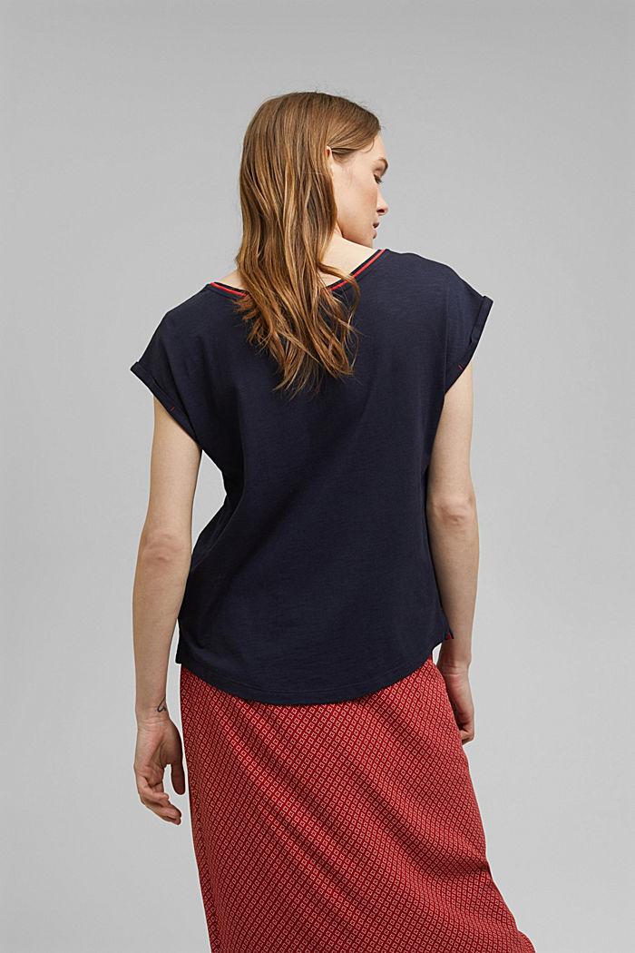 TENCEL™/biologisch katoen: afgebiesd T-shirt, NAVY, detail image number 3