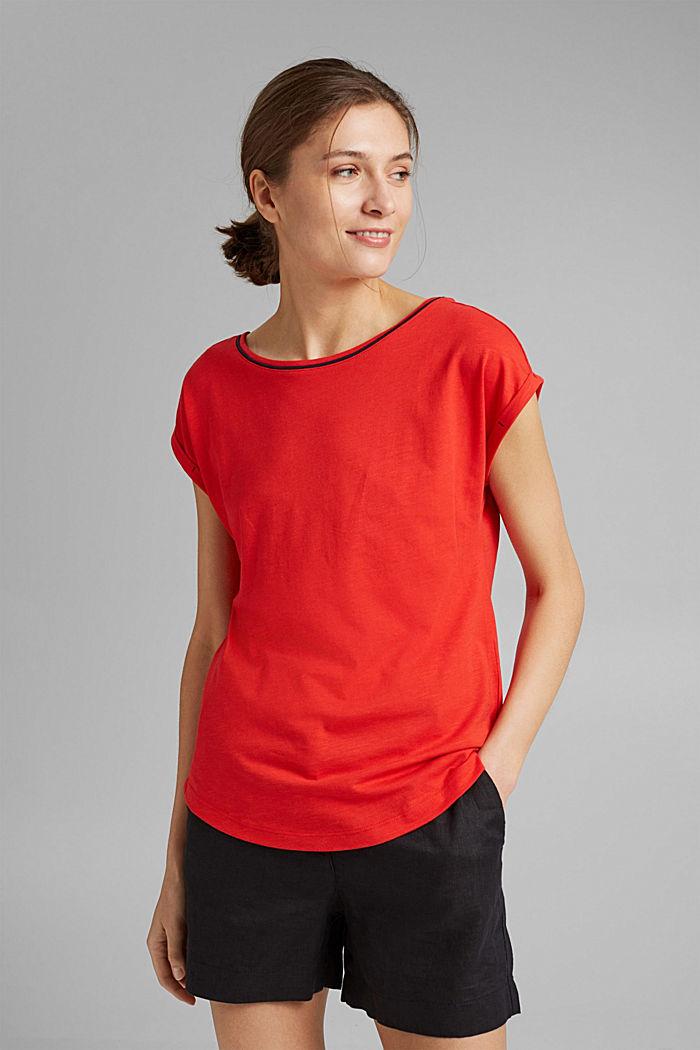 TENCEL™/biologisch katoen: afgebiesd T-shirt, RED, detail image number 0