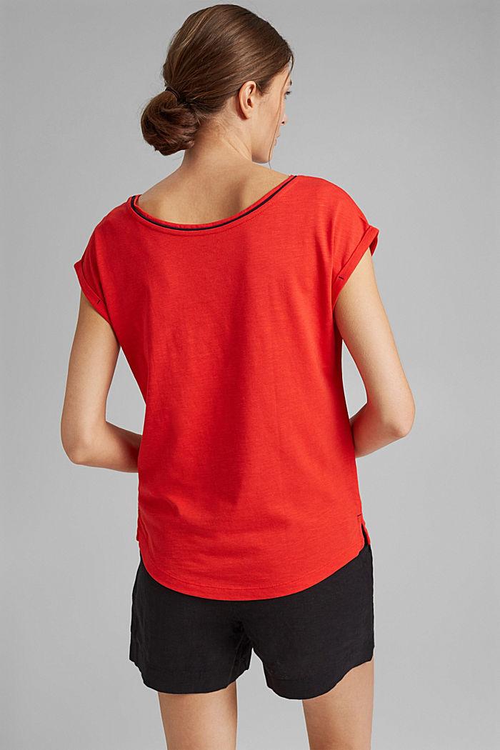 TENCEL™/biologisch katoen: afgebiesd T-shirt, RED, detail image number 3