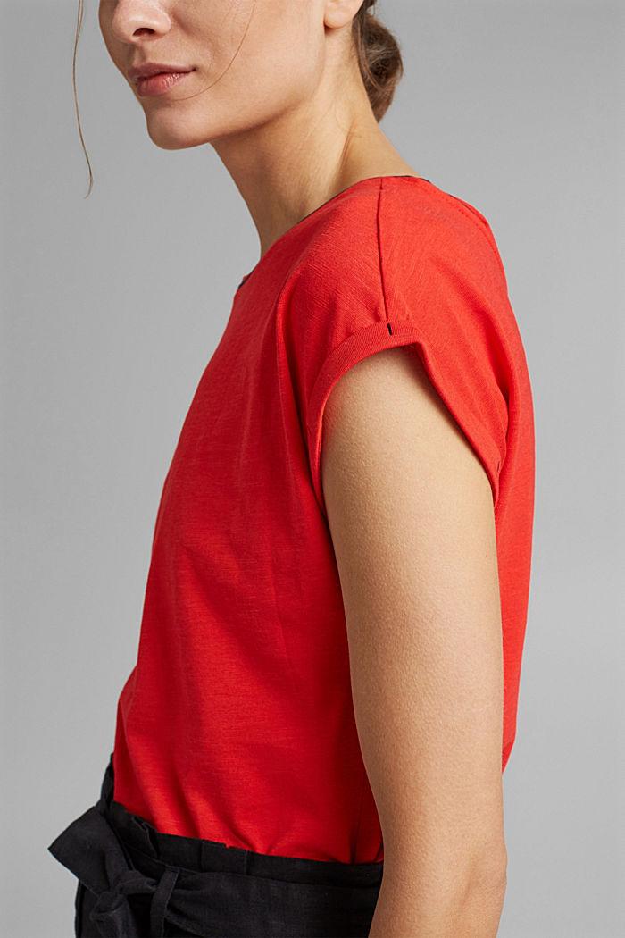 TENCEL™/biologisch katoen: afgebiesd T-shirt, RED, detail image number 2