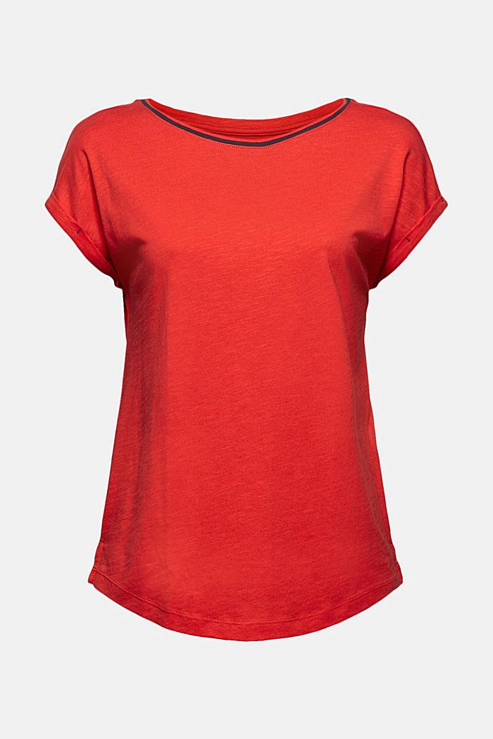 TENCEL™/biologisch katoen: afgebiesd T-shirt, RED, detail image number 5