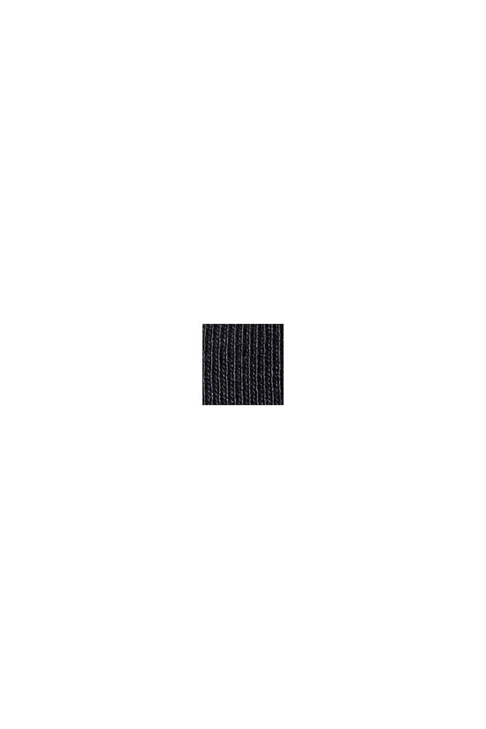 Maglia a maniche lunghe da risvoltare, cotone biologico, BLACK, swatch
