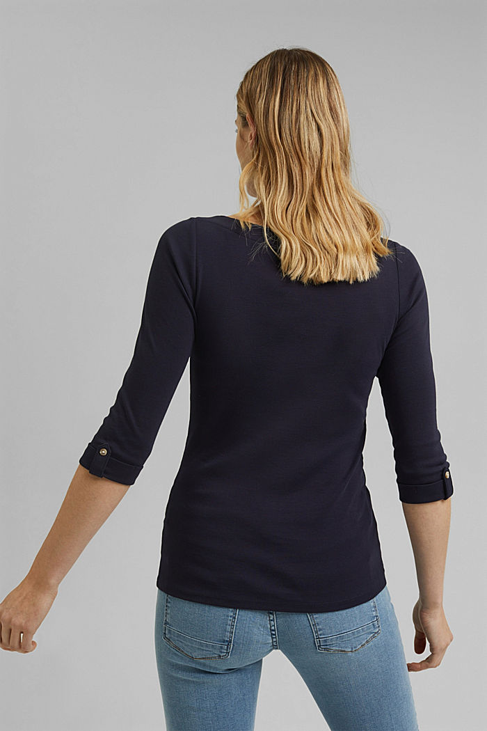 Long sleeve top made of 100% organic cotton, NAVY, detail image number 3