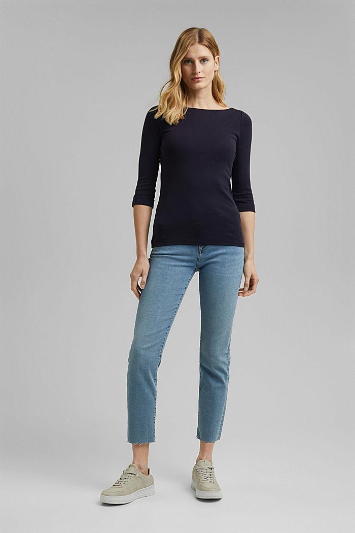 T-shirt à manches longues à revers, coton bio, NAVY, detail image number 0