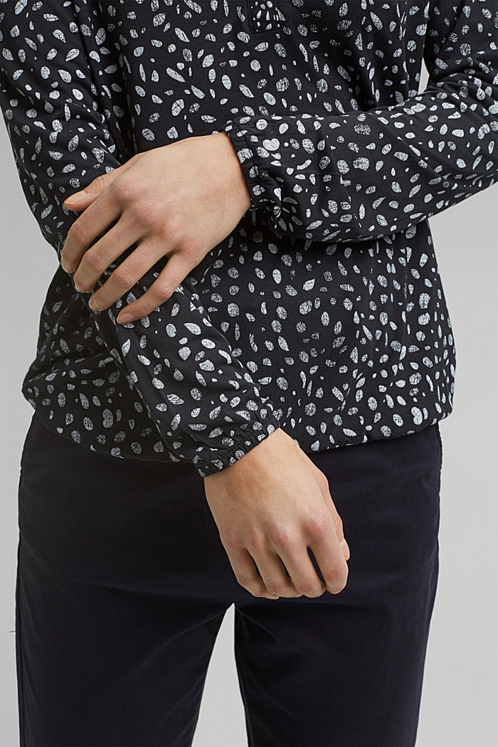 Jersey long sleeve top made of LENZING™ ECOVERO™, BLACK, detail image number 2