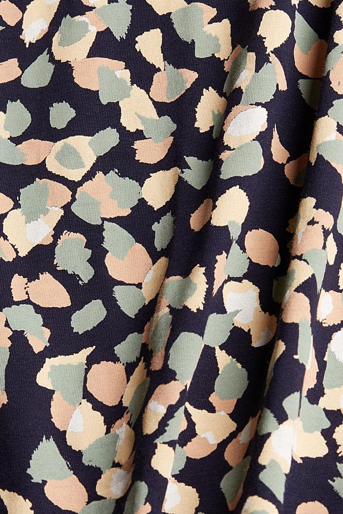 Lehtikuvioitu t-paita 100 % luomupuuvillaa, NAVY, detail image number 4