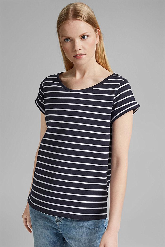 Gestreiftes T-Shirt aus Bio-Baumwolle, NAVY, detail image number 0