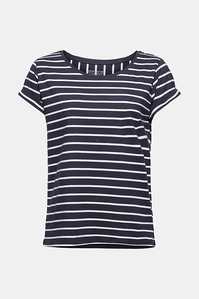 Gestreiftes T-Shirt aus Bio-Baumwolle, NAVY, detail image number 6