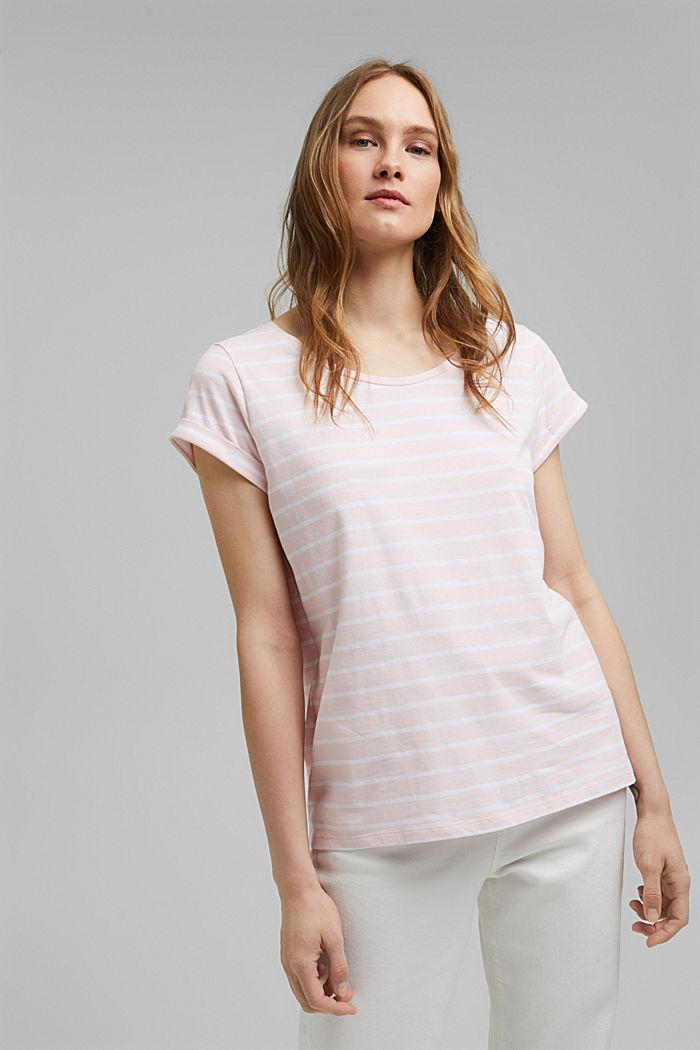 Gestreept T-shirt van biologisch katoen, LIGHT PINK, detail image number 0