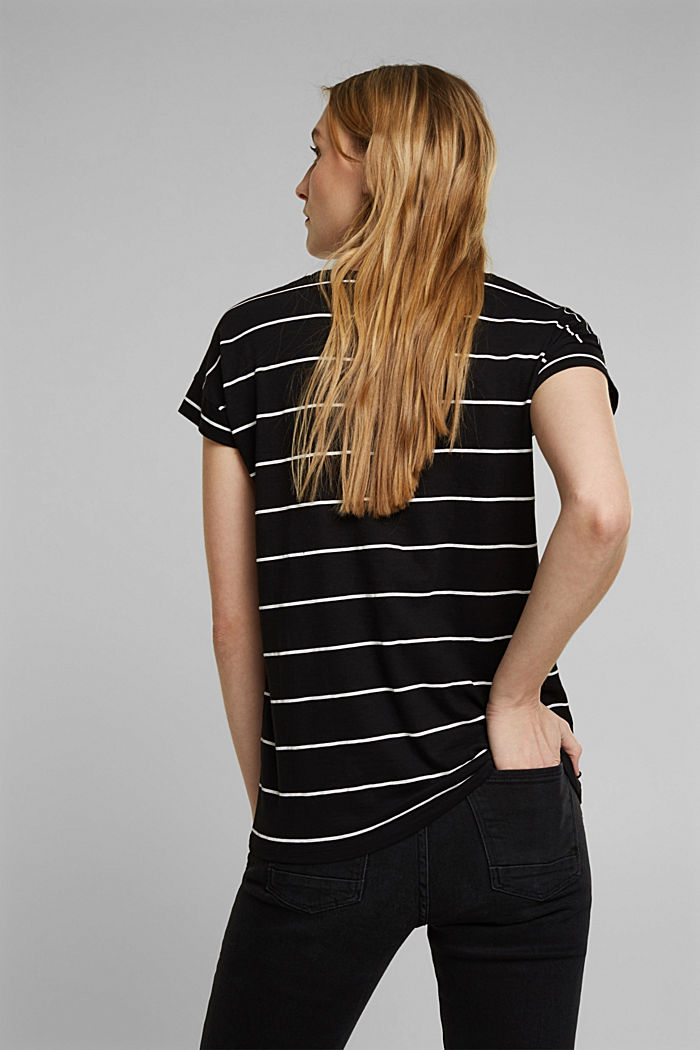 Striped top made of 100% organic cotton, BLACK, detail image number 3