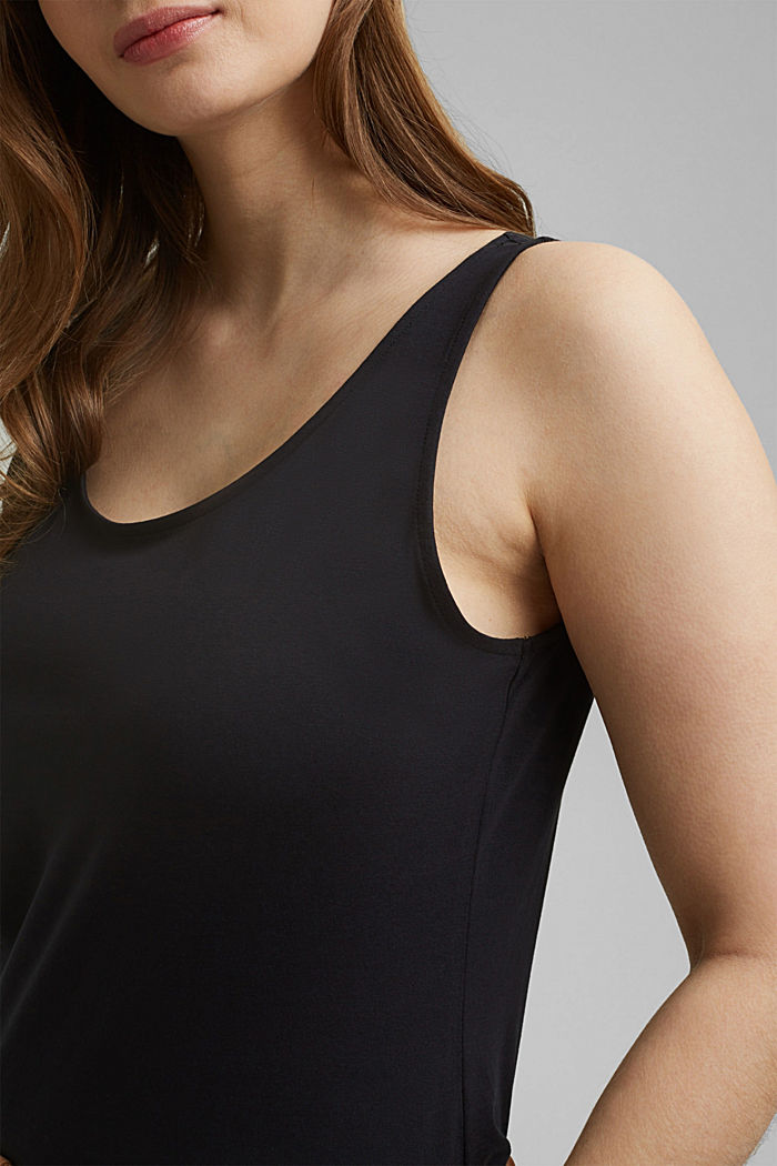 CURVY stretch top made of organic cotton, BLACK, detail image number 2