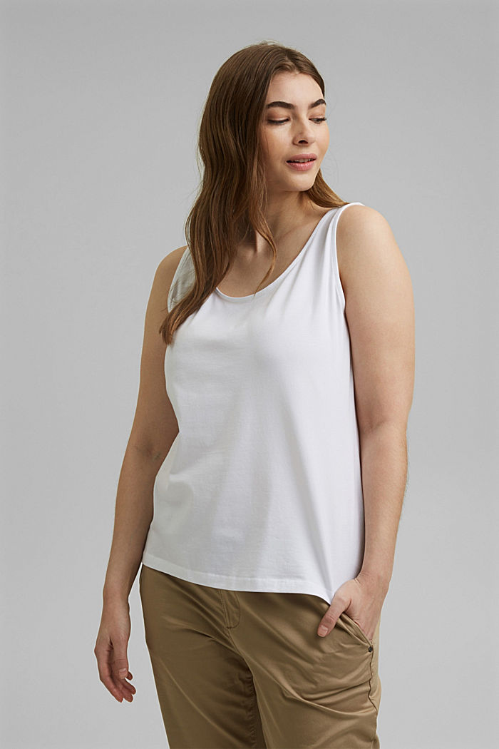 CURVY stretch top made of organic cotton, WHITE, detail image number 0
