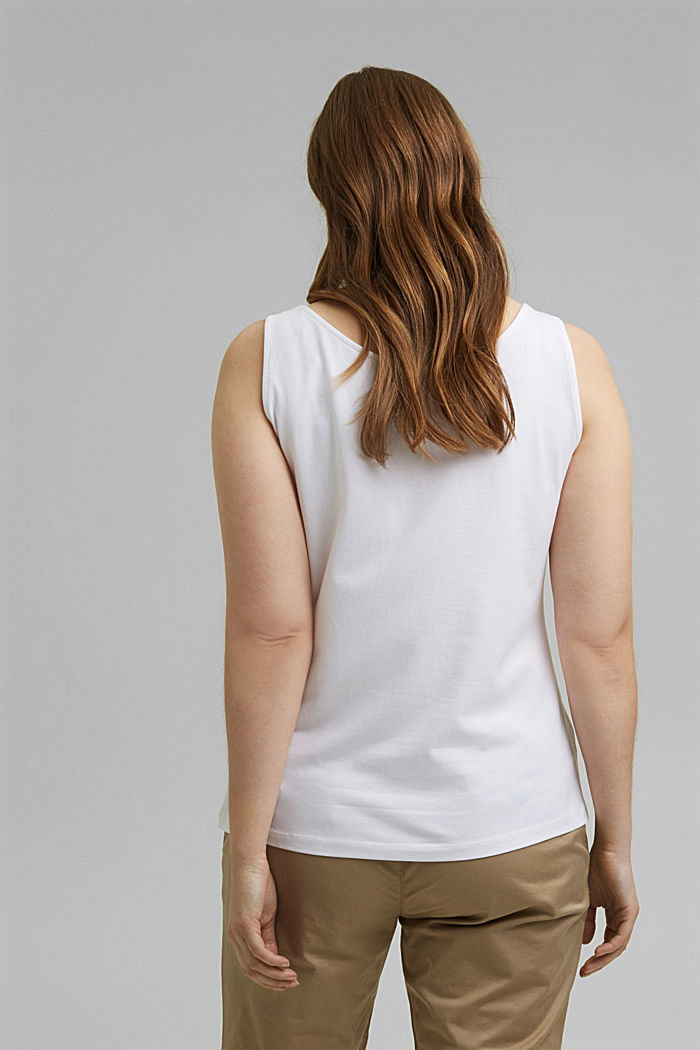CURVY stretch top made of organic cotton, WHITE, detail image number 3