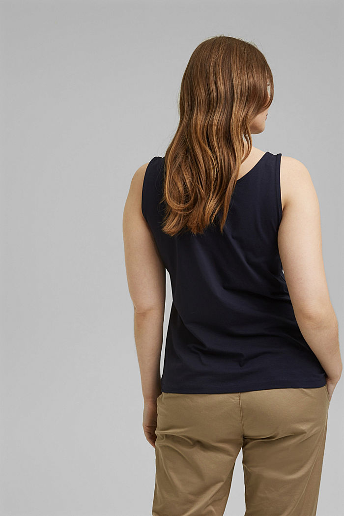 CURVY stretch top made of organic cotton, NAVY, detail image number 3