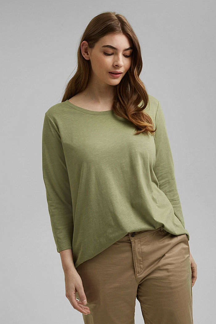 CURVY long sleeve top containing organic cotton/TENCEL™, LIGHT KHAKI, detail image number 0