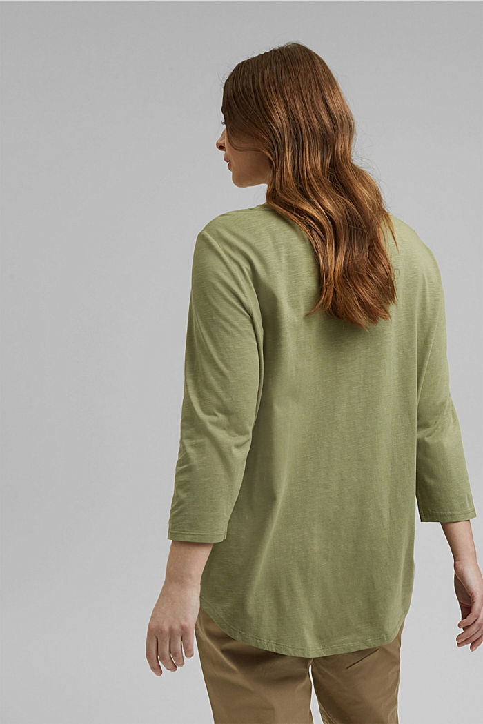 CURVY long sleeve top containing organic cotton/TENCEL™, LIGHT KHAKI, detail image number 3