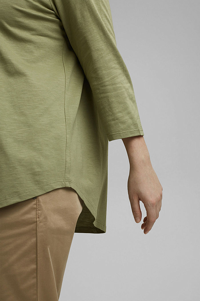 CURVY long sleeve top containing organic cotton/TENCEL™, LIGHT KHAKI, detail image number 2
