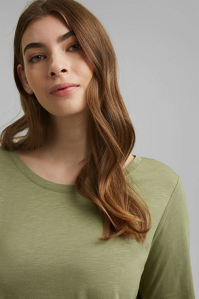 CURVY long sleeve top containing organic cotton/TENCEL™, LIGHT KHAKI, detail image number 5