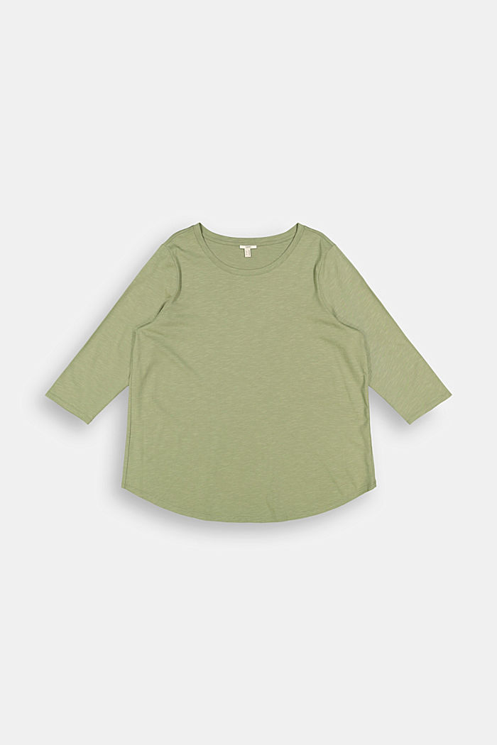 CURVY long sleeve top containing organic cotton/TENCEL™, LIGHT KHAKI, detail image number 6