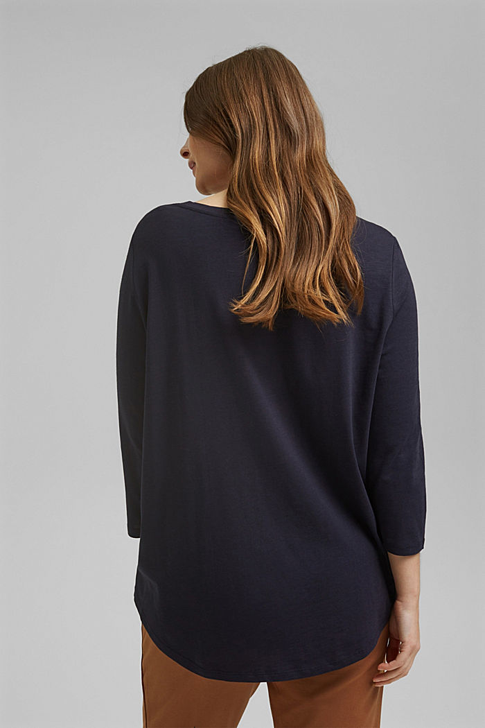 CURVY long sleeve top containing organic cotton/TENCEL™, NAVY, detail image number 3