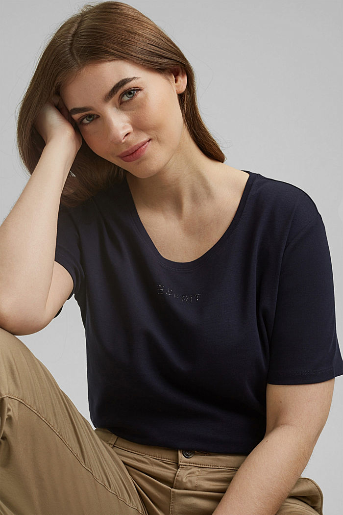 CURVY logo top with rhinestones, organic cotton, NAVY, detail image number 5