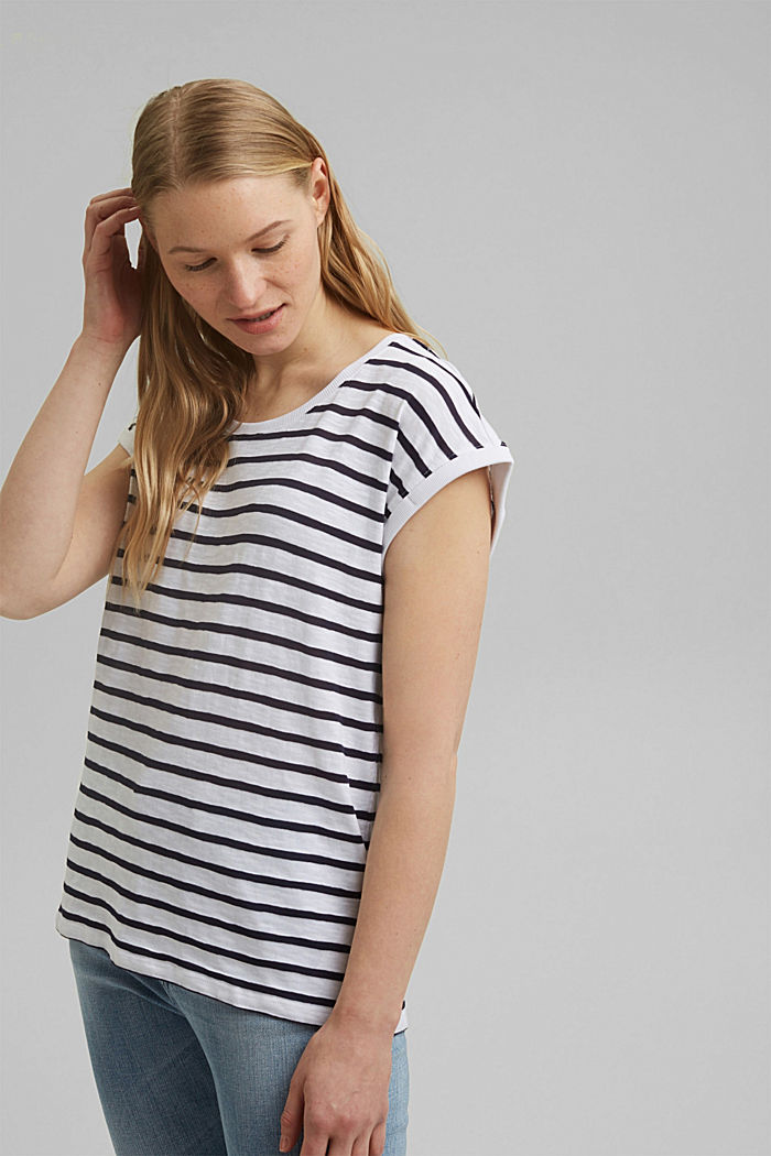 Recycled: striped T-shirt containing organic cotton, NAVY, detail image number 0