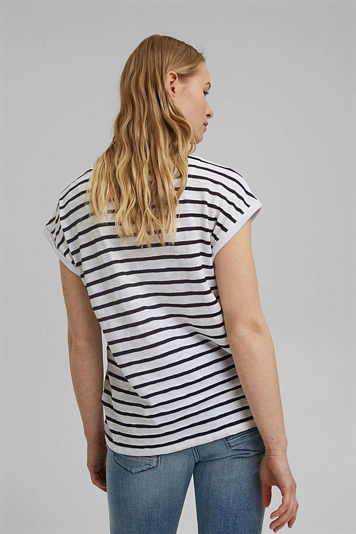 Gerecycled: gestreept shirt met organic cotton, NAVY, detail image number 3