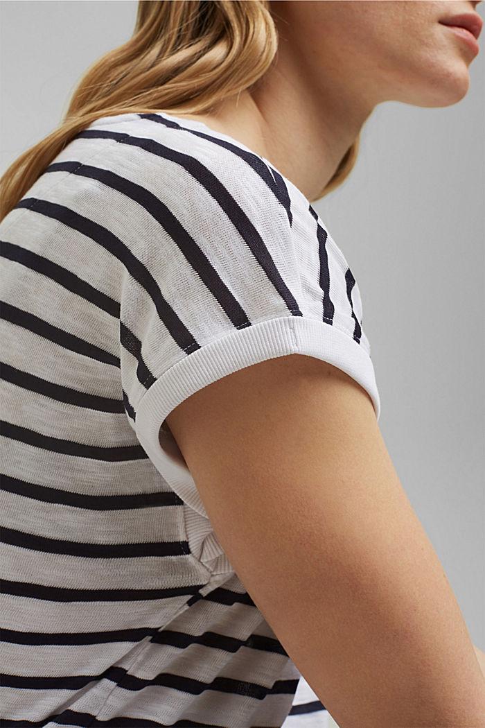 Gerecycled: gestreept shirt met organic cotton, NAVY, detail image number 2