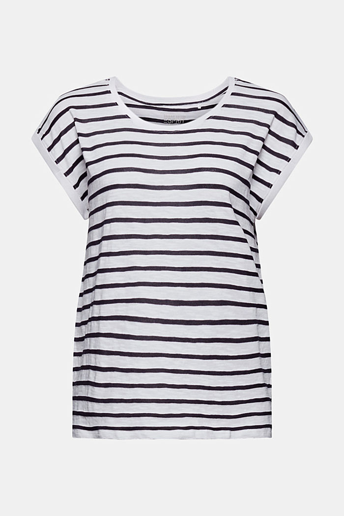 Recycled: striped T-shirt containing organic cotton, NAVY, overview