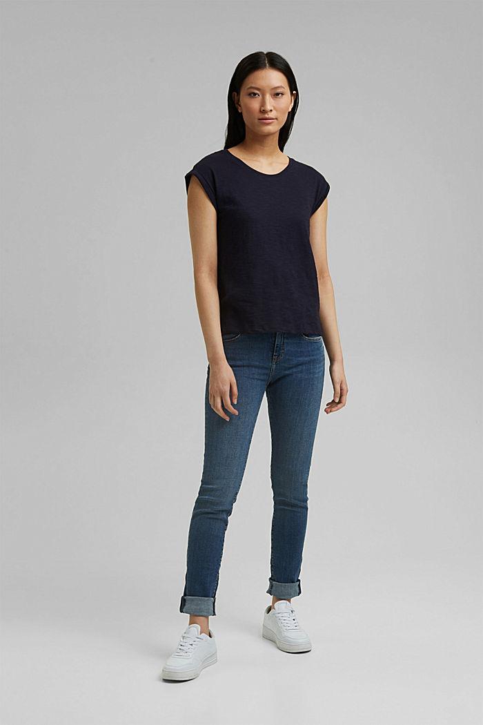Recycelt: T-Shirt mit Organic Cotton, NAVY, detail image number 1