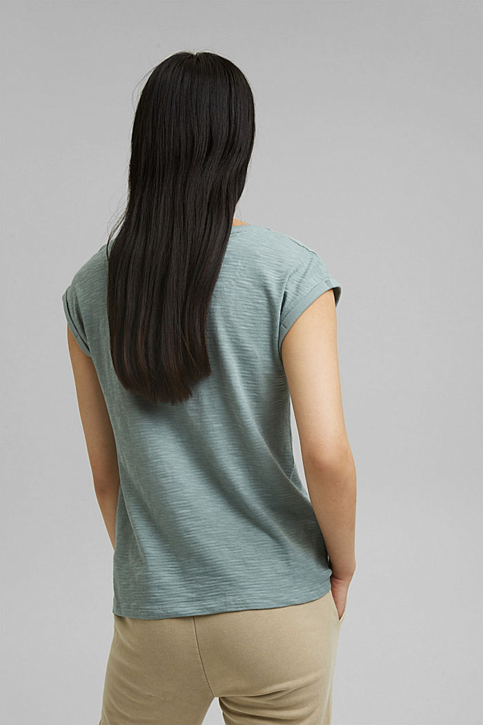 Recycelt: T-Shirt mit Organic Cotton, TURQUOISE, detail image number 3