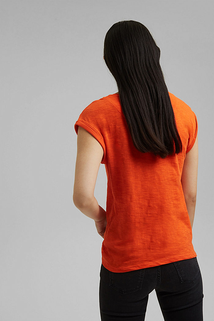 Recycled: T-shirt with organic cotton, ORANGE RED, detail image number 3