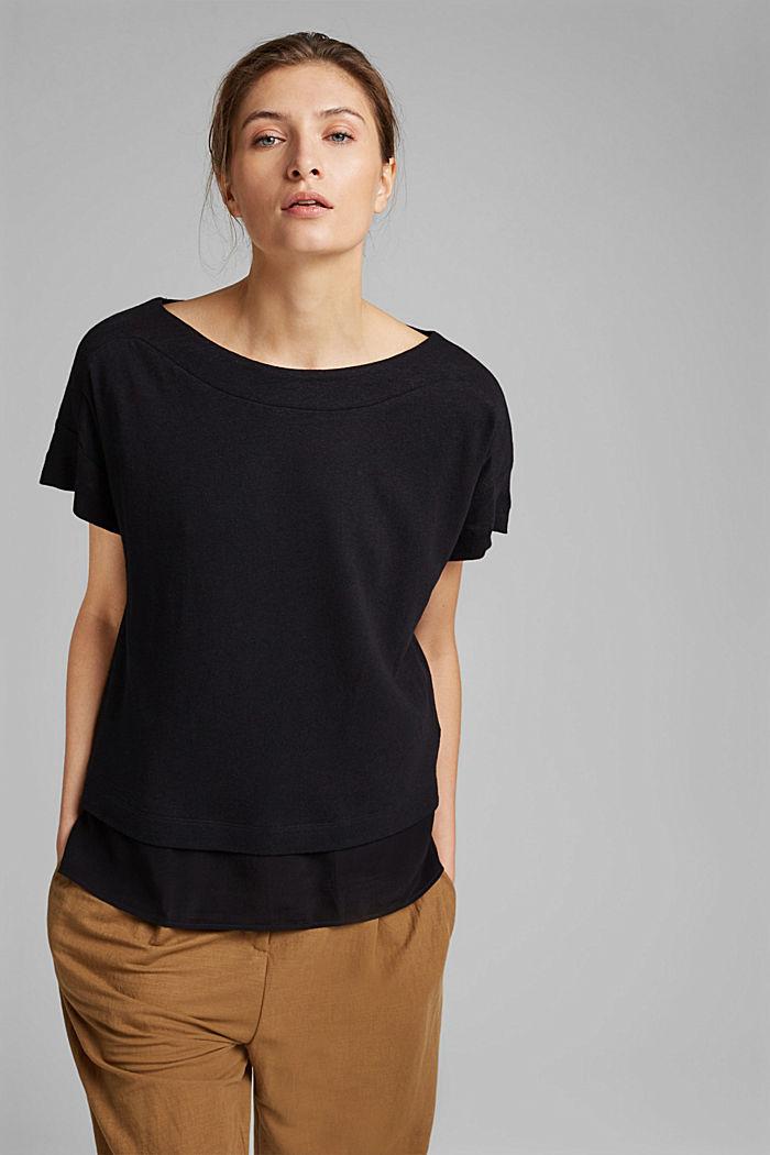 Met linnen: T-shirt met laagjeseffect, BLACK, detail image number 0
